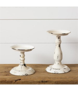 Candle Holder - Cream Distressed