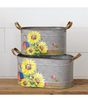 Sunflowers & Butterflies - Oval Tins With Handles