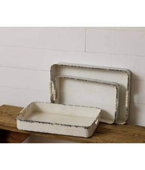 Distressed White Metal Trays