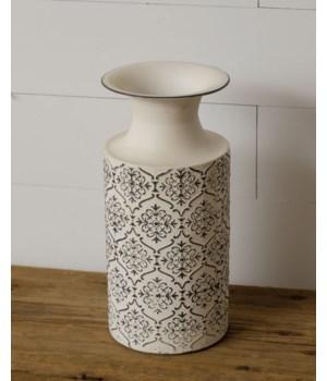 White Embossed Vase, Metal