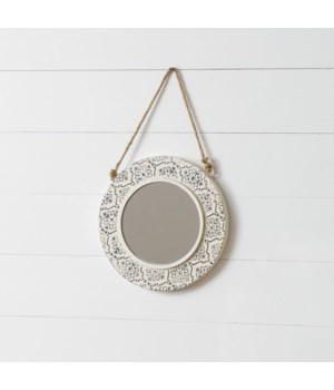 White Embossed Mirror, Small