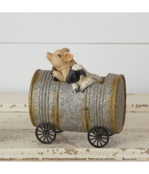 Pig & Sheep Driving A Can