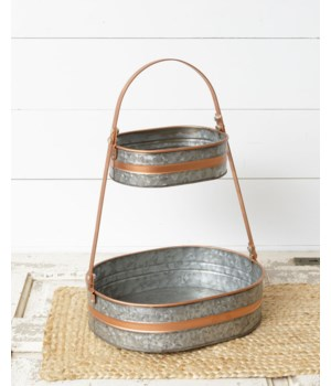 Galvanized Two-Tiered Tray With Copper Accents