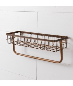 One-Tiered Organizer with Towel Holder, Copper