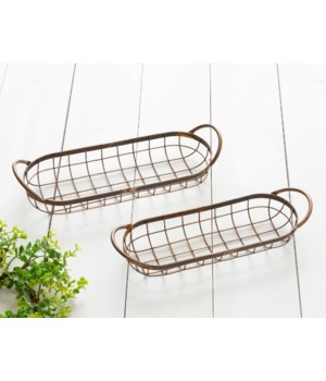 Weathered Wire Oblong Trays, Copper