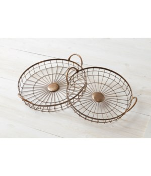 Weathered Wire Round Trays, Copper
