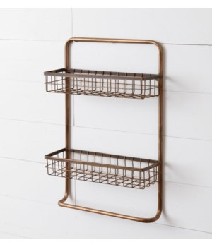Two-Tiered Organizer with Towel Holder, Copper