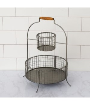 Two-Tiered Metal Basket