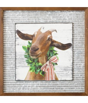Corrugated Metal And Wood Sign - Goat