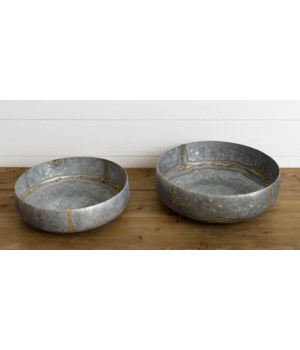 Galvanized Bowls With Gold Welding