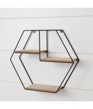 Metal Hexagon Wall Shelf