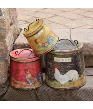 Canisters - Roosters  Nested  Round