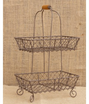 Wire Basket - Two Tiered, Wooden Handle