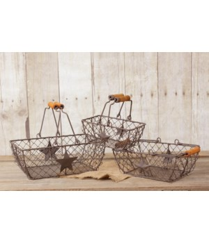 Wire Basket - Nested Set Rectangles With Stars