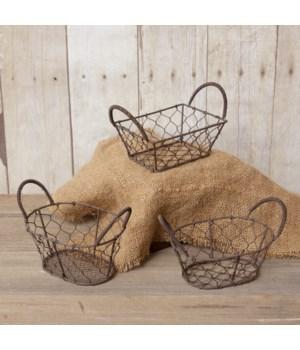 Wire Basket - Mini Asst. Shapes, Wire Handles
