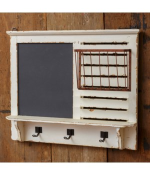 Chalkboard With Hooks And Wire Rack