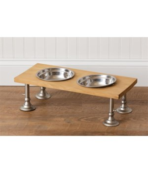 Food and Water Bowl - Adjustable Stand 8 in. x 19.5 in. x 8.5 in.,