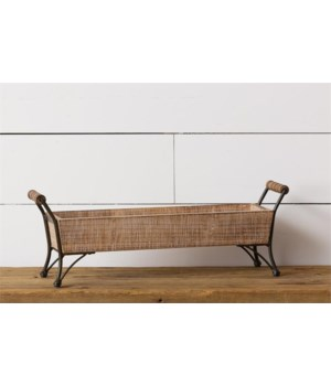 Metal Footed Tray - Rectangle with Wood Handles