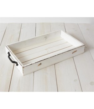 Tray - Wood With Metal Handles