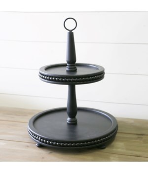 Beaded Tiered Stand, Black
