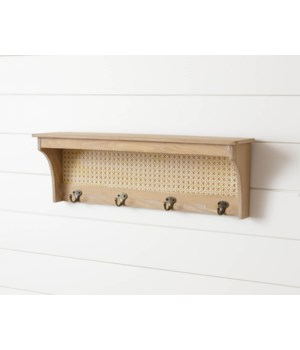 Wood Shelf With Caning And Hooks