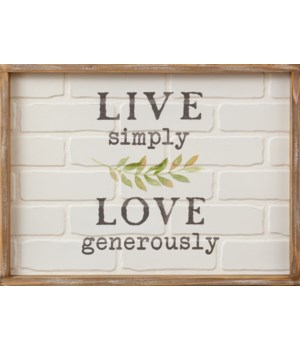 Sign - Live Simply, Brick 14.5 in. x 19.5 in.
