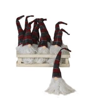12 pc Plush Red/Grey Plaid Santa Gnome Ornament w/Crate