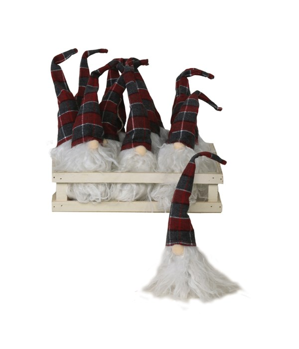 12 pc Plush Red/Grey Plaid Santa Gnome Ornament w/Crate