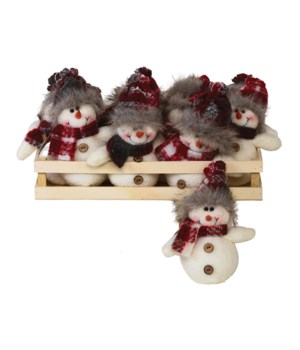12 pc Plush Plaid Snowman Ornament w/Crate