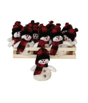 12 pc Plush Red/BlackPlaid Snowman Ornament w/Crate