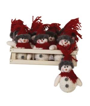 12 pc Plush Red Knit Hat Snowman Ornament w/Crate