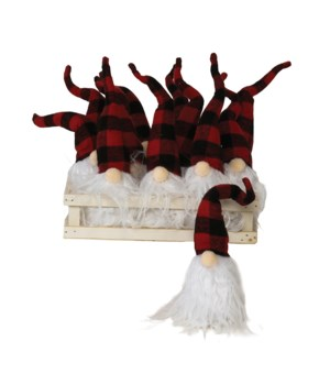 12 pc Lg Plush Red/Black Plaid Santa Gnome Ornament w/Crate