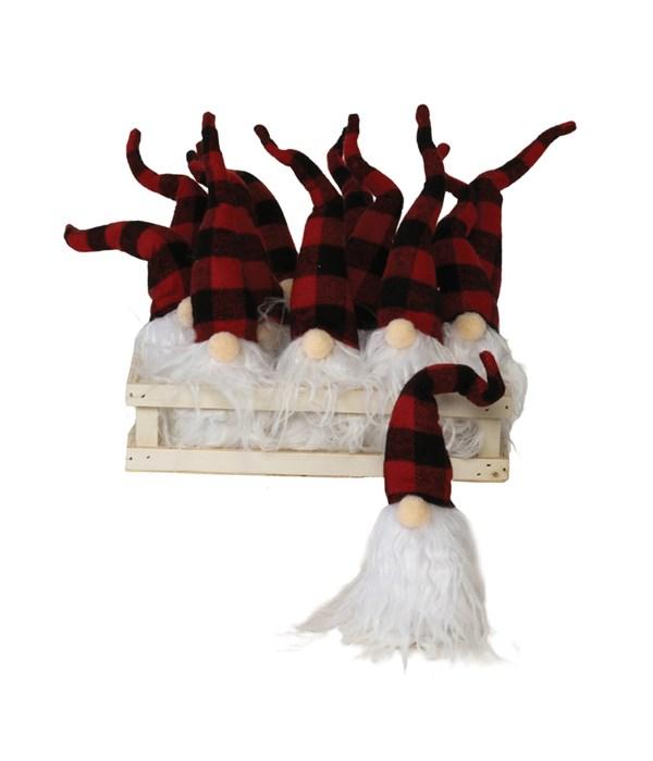 12 pc Lg Plush Red/Black Plaid Santa Gnome Ornament w/Crate