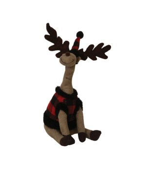 Sitting Plush Red/Black Plaid Reindeer
