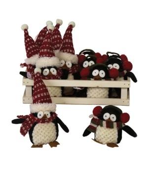 2 Asst Plush Penguin Ornament w/Crate