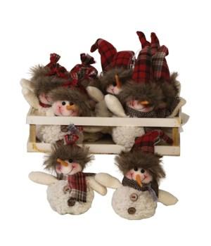12 pc Asst Plush Red Plaid  Hat Snowman Ornament w/Crate