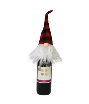 Plush Red/Black Plaid Santa Gnome Bottle Topper