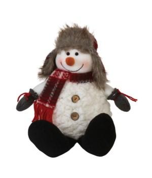 Sitting Plush Snowman w/Plaid Scarf