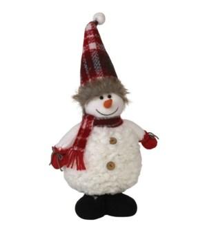 Standing Plush Snowman w/Plaid Scarf & Hat