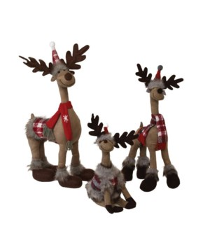 Standing Plush Reindeer w/Red Scarf