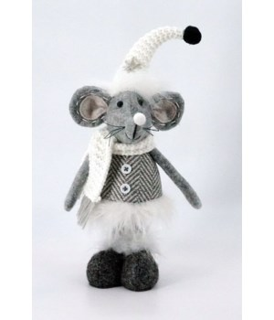 Standing Plush Grey Mouse