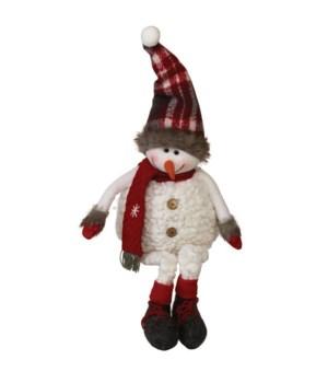 Dangle Leg Plush Snowman w/Plaid Scarf & Hat