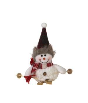 Skiing Plush Snowman Ornament w/Plaid Scarf & Hat