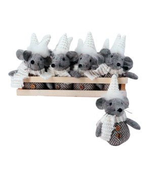 12 pc Plush Grey Mouse Ornament w/Crate
