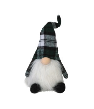 Sitting Green Plaid Santa Gnome