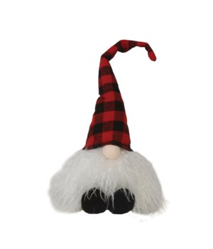 Sitting Plush Red/Black Plaid Santa Gnome