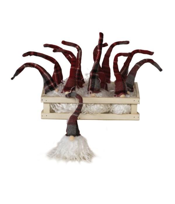 12 pc Plush Red Plaid Santa Santa Gnome Ornament w/Crate