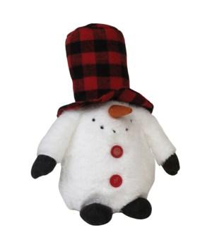 Sm Plush Plaid Hat Snowman