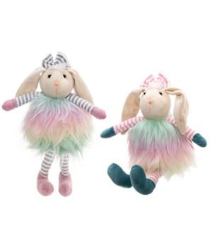 2 Asstd Fabric Sitting Rabbit with Soft Legs