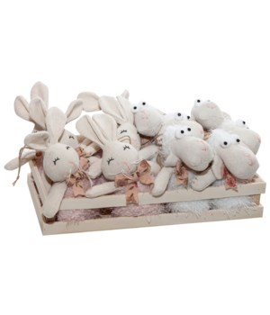 12 pc Fabric Rabbit and Sheep Ornaments with Crate